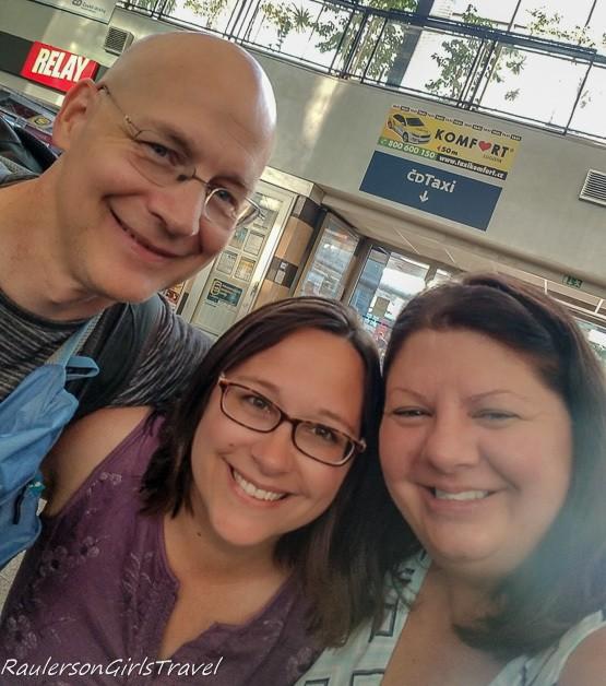 Andy, Sara, and me at Ostrava train station