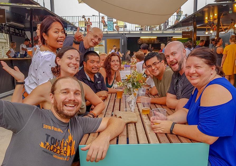 Friends meeting at Manifesto Market in Prague