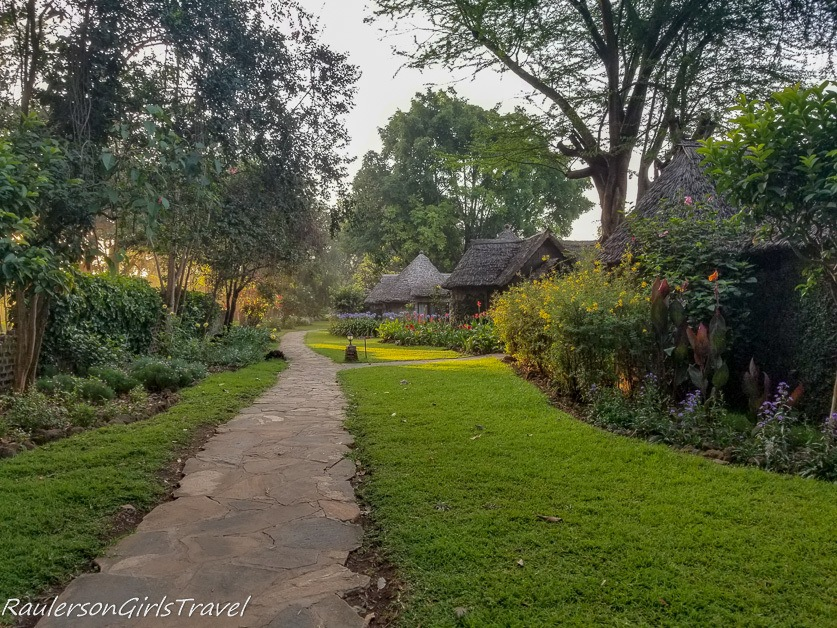 Arusha Serena Hotel walkway to Bungalows
