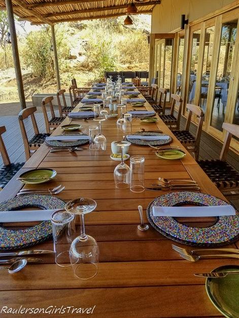 Dining table at Lemala Mpingo Camp