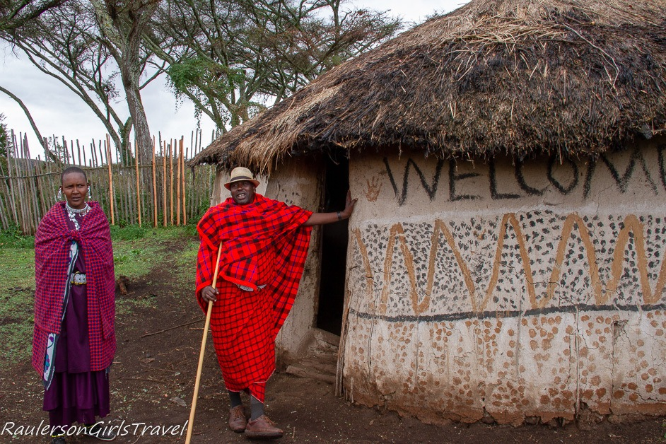 Chief Eliedorop and one of his wives showing his home