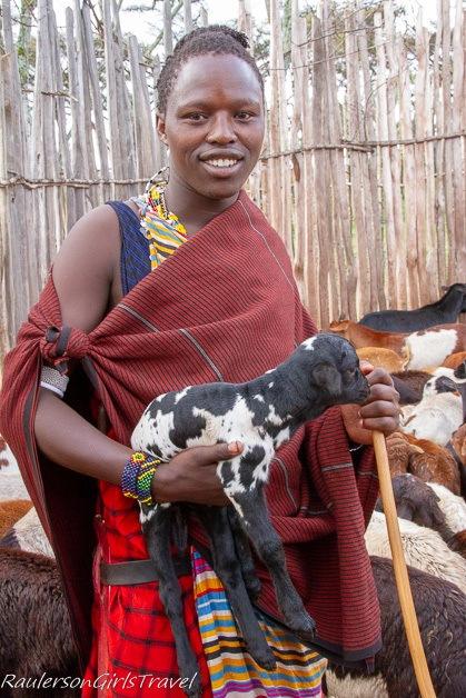 Maasai with goat