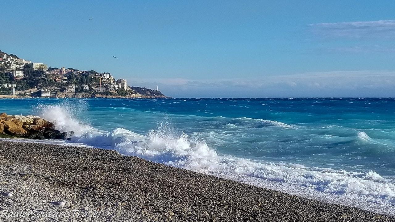 Waves crashing on the beach in Nice