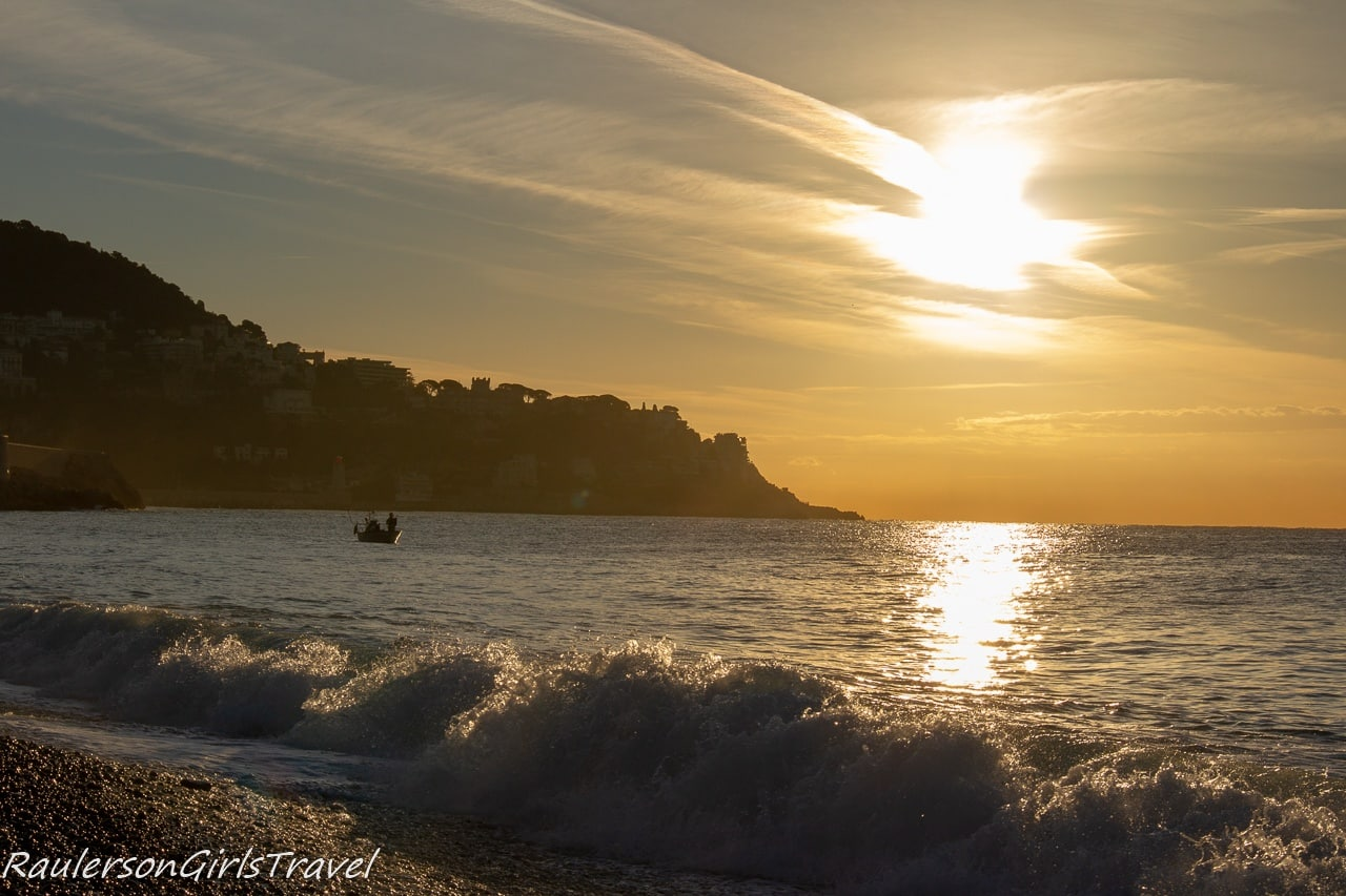Nice Sunrise with waves and a fisherman