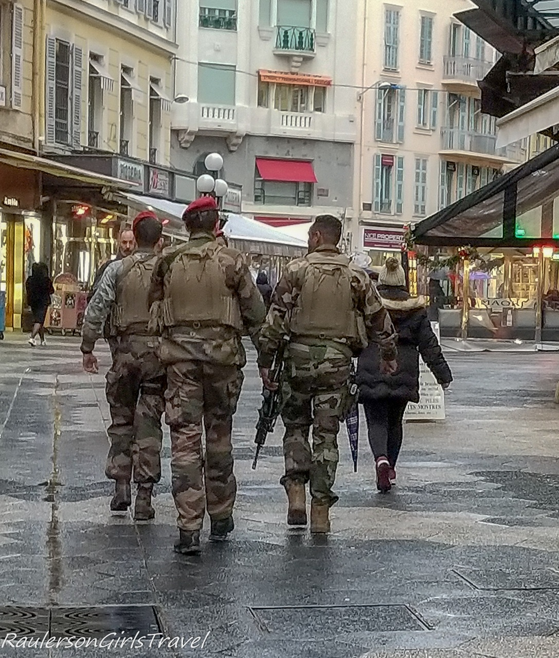 Military walking the streets in Nice