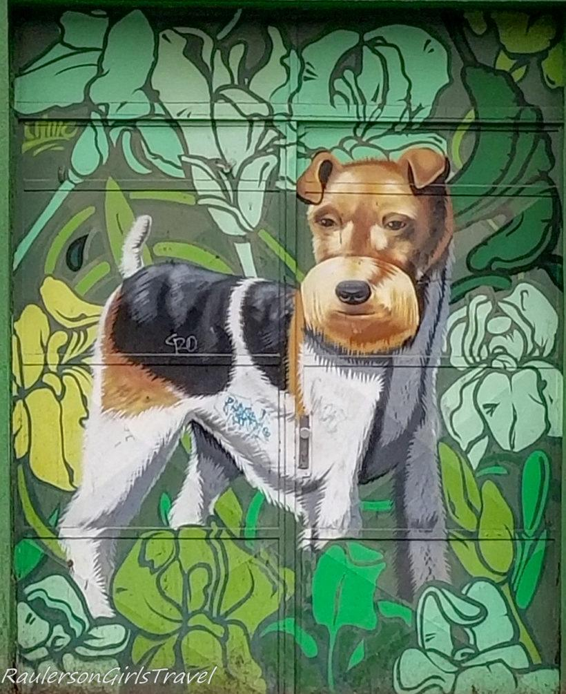 Dog in jungle street art