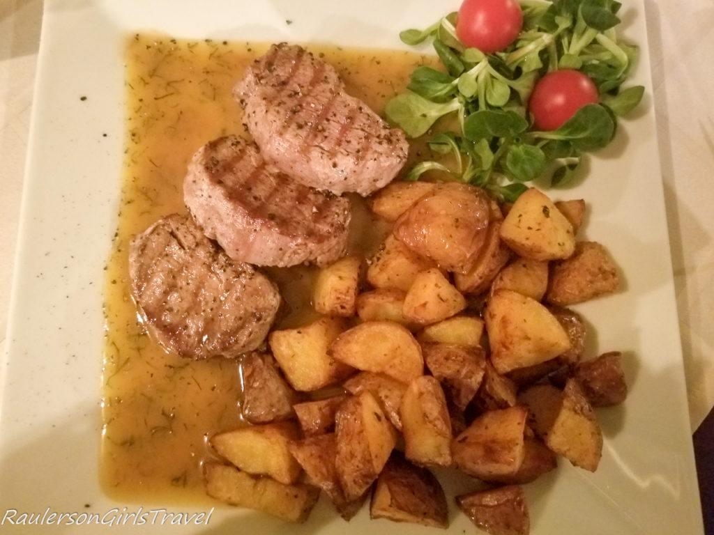 Pork Medallions and Roasted Potatoes at Prašná Bašta