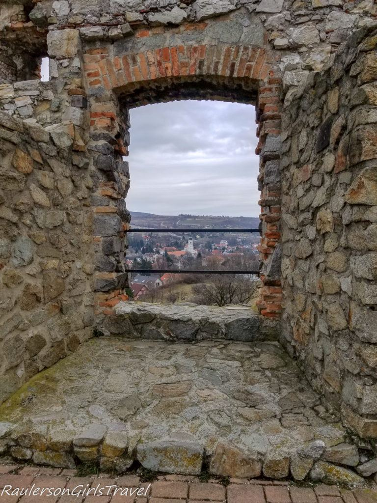 View of Devin through Devin Castle window