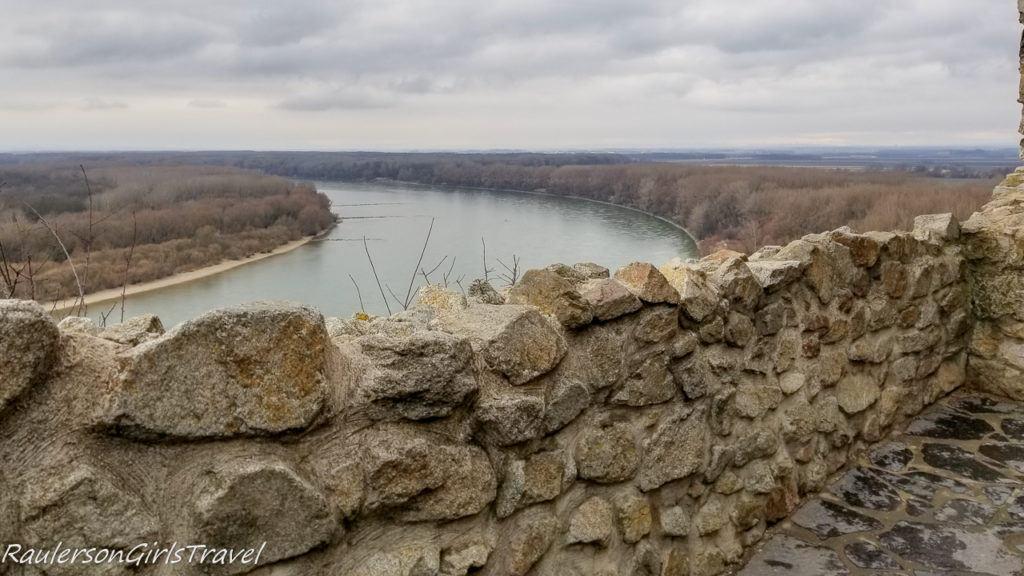 Devin Castle wall and Danube River