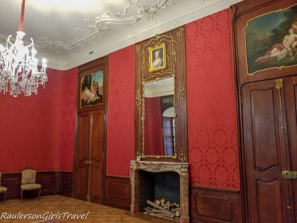 Red room with fireplace