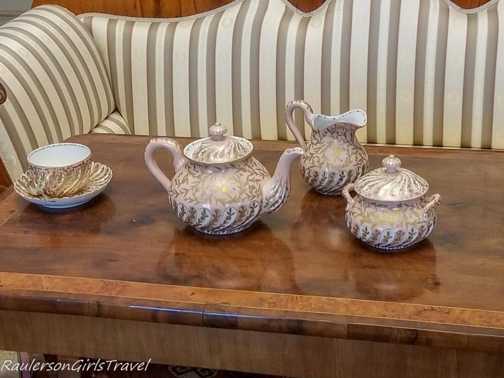 Tea set on coffee table