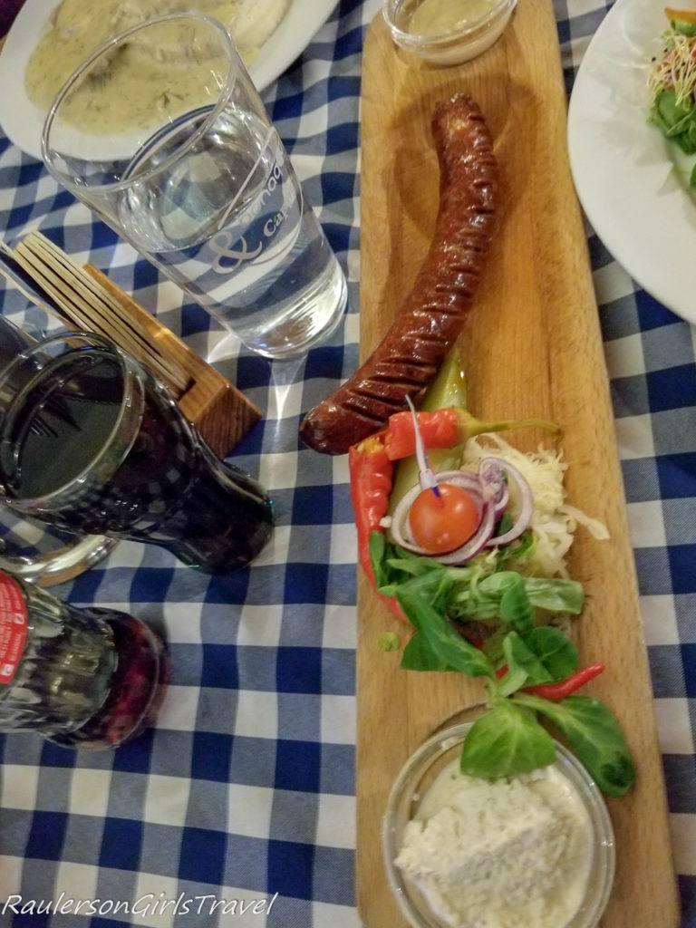 Sausage at Bratislava Flagship Restaurant