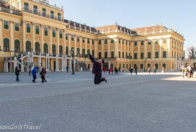 Heather jumping at Schönbrunn Palace
