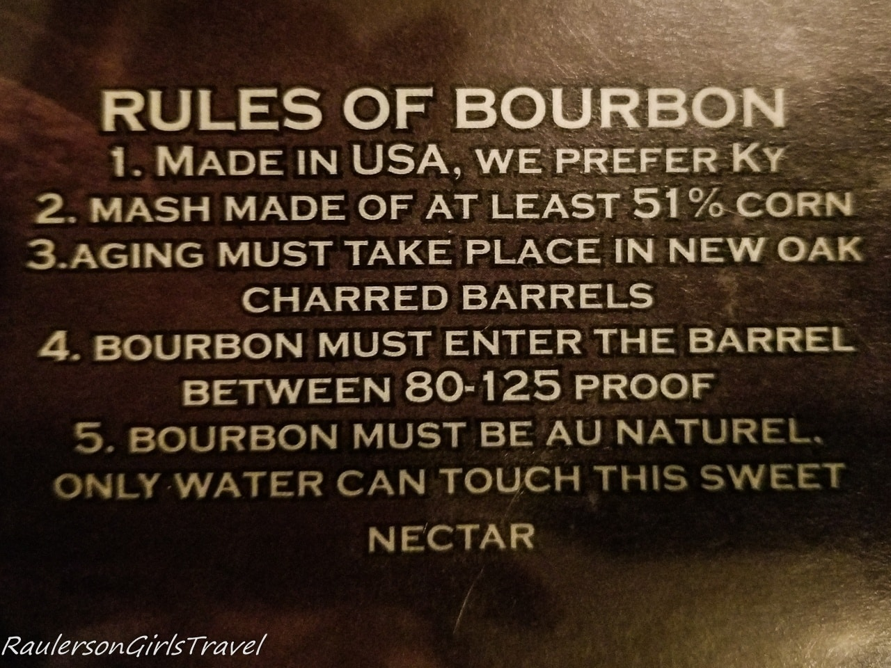 Rules of Bourbon