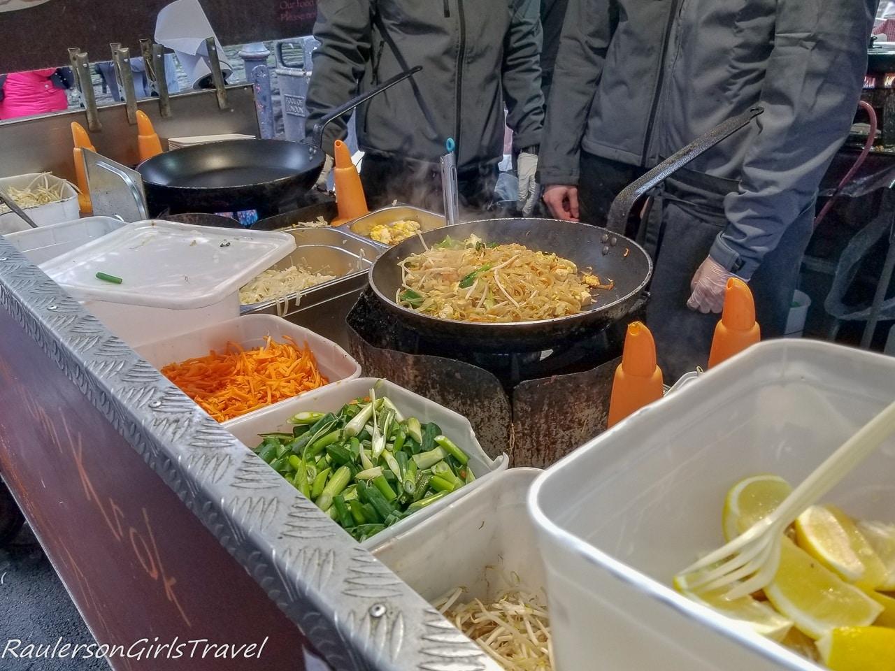 Making Pad Thai at Borough Market