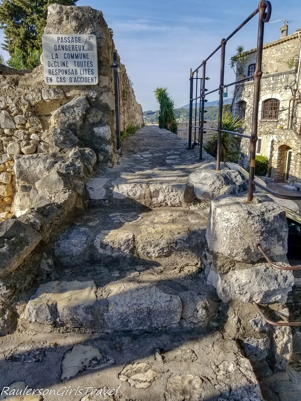 Stairs to walk the St. Paul de Vence ramparts