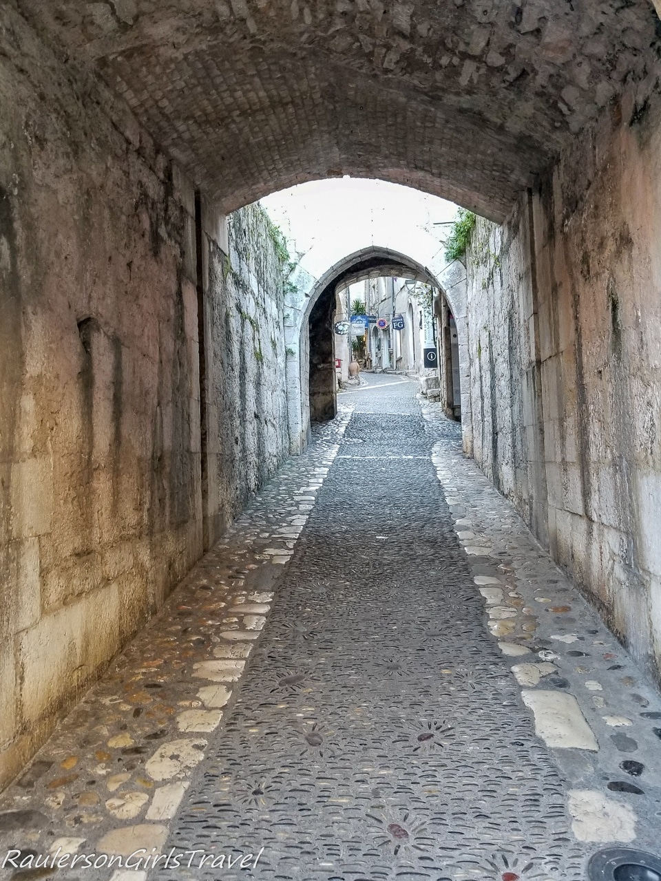 The long archway into the village of St. Paul de Vence
