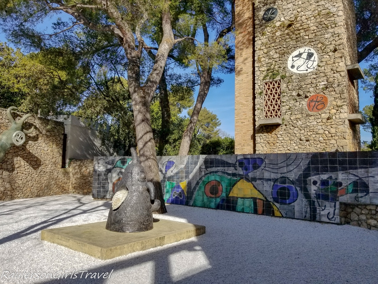 courtyard to The Miró Labyrinth