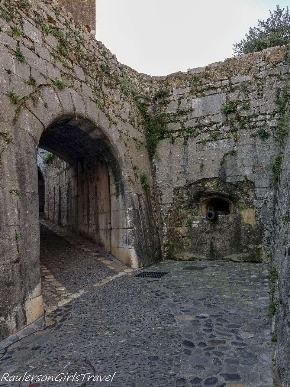 Saint Paul de Vence Arched royal gate with cannon