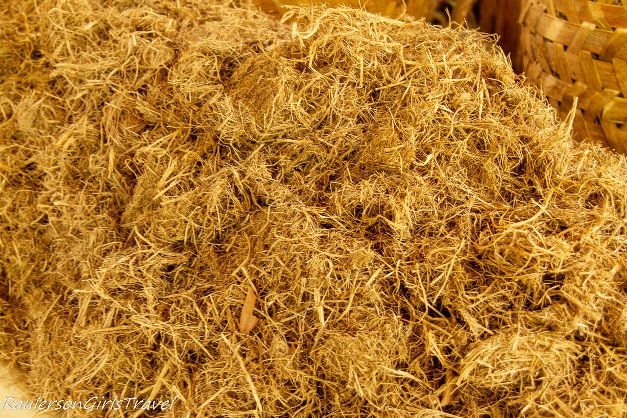 Dried elephant poo fibers