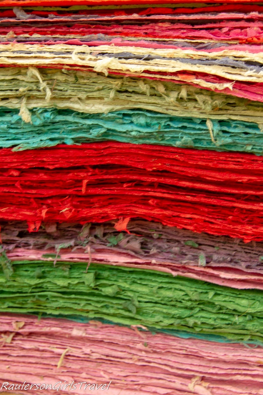 Colorful stack of Elephant Poo Paper