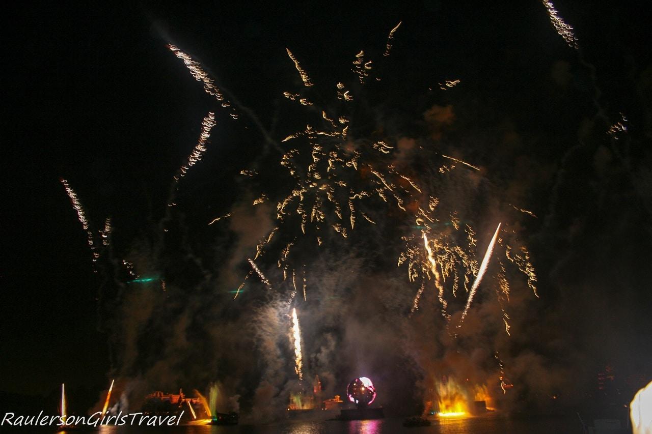 Disney Illuminations Earth Globe, fireworks and lasers