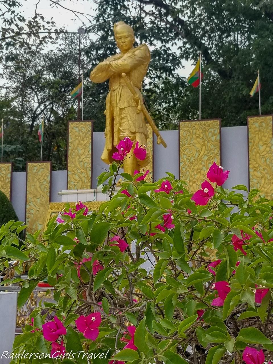 Golden Burmese King Statue