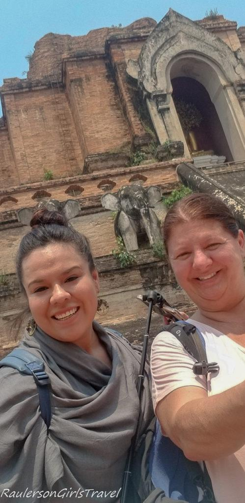 Jimena Lopez and Heather at Wat Chedi Luang