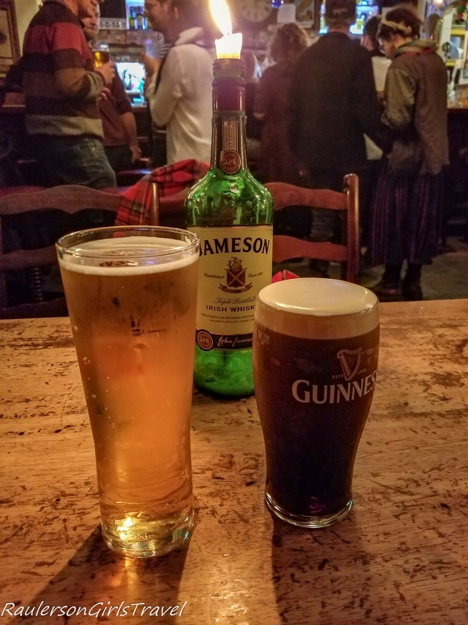 Guinness and a Cider in a Dublin Pub