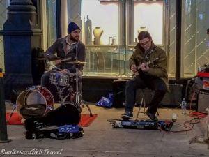 Duo performing on Grafton Street