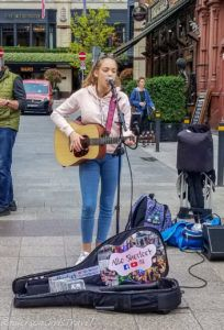 Young girl performing on Grafton Street