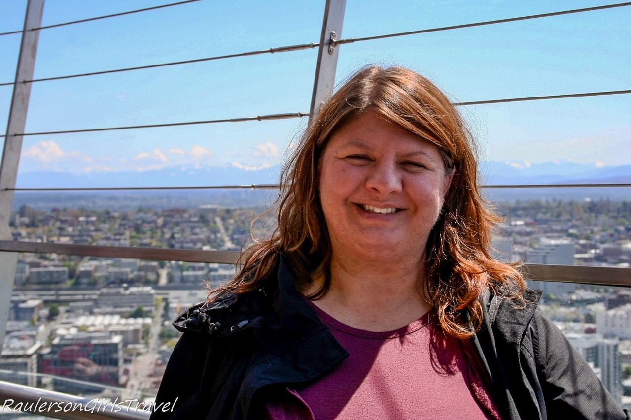 Heather on top of Space Needle - Things to do in Seattle