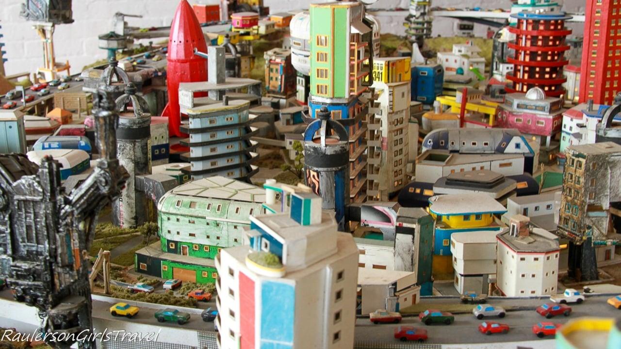 close-up of the mini city