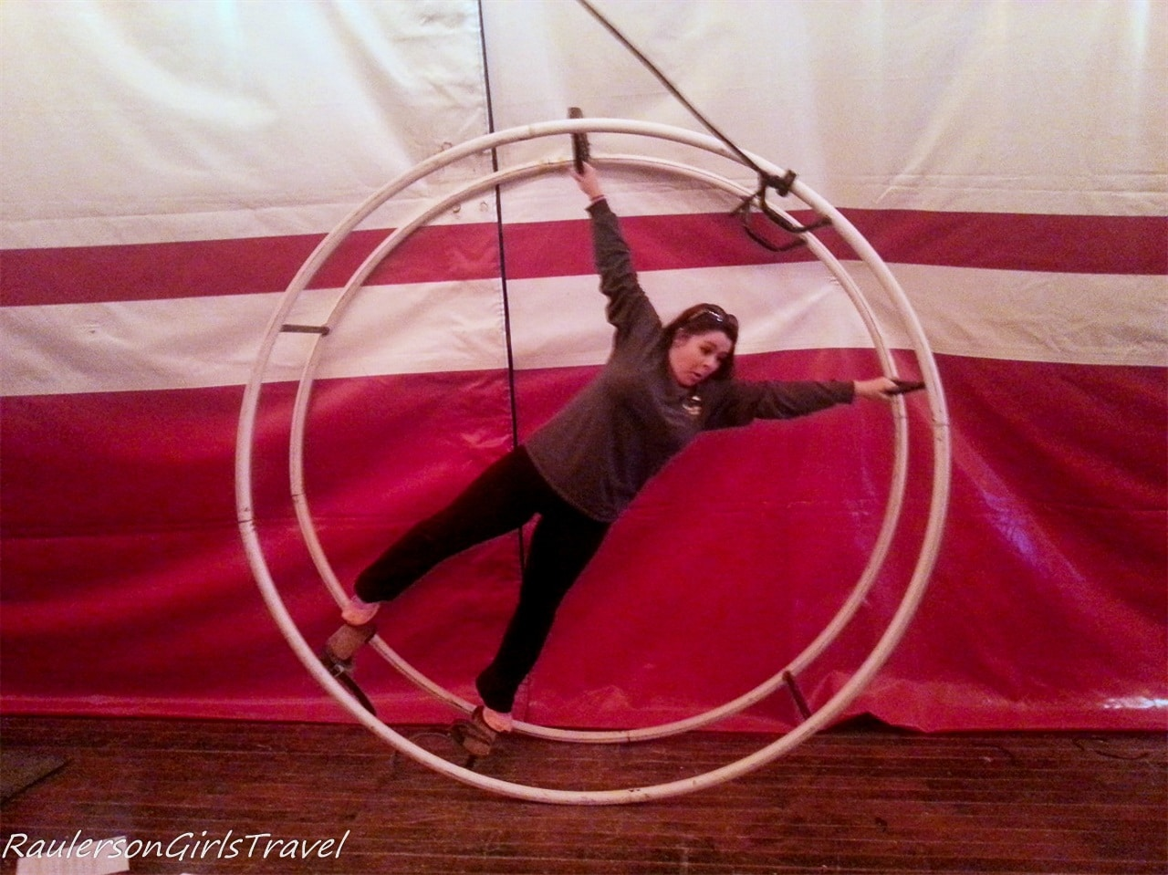 Kayla on the spinning wheel