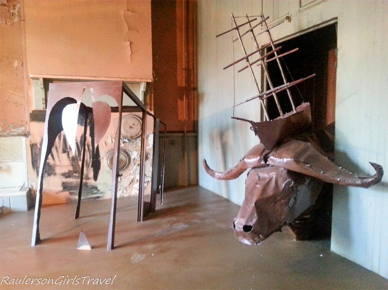 Bull art at the Mattress Factory