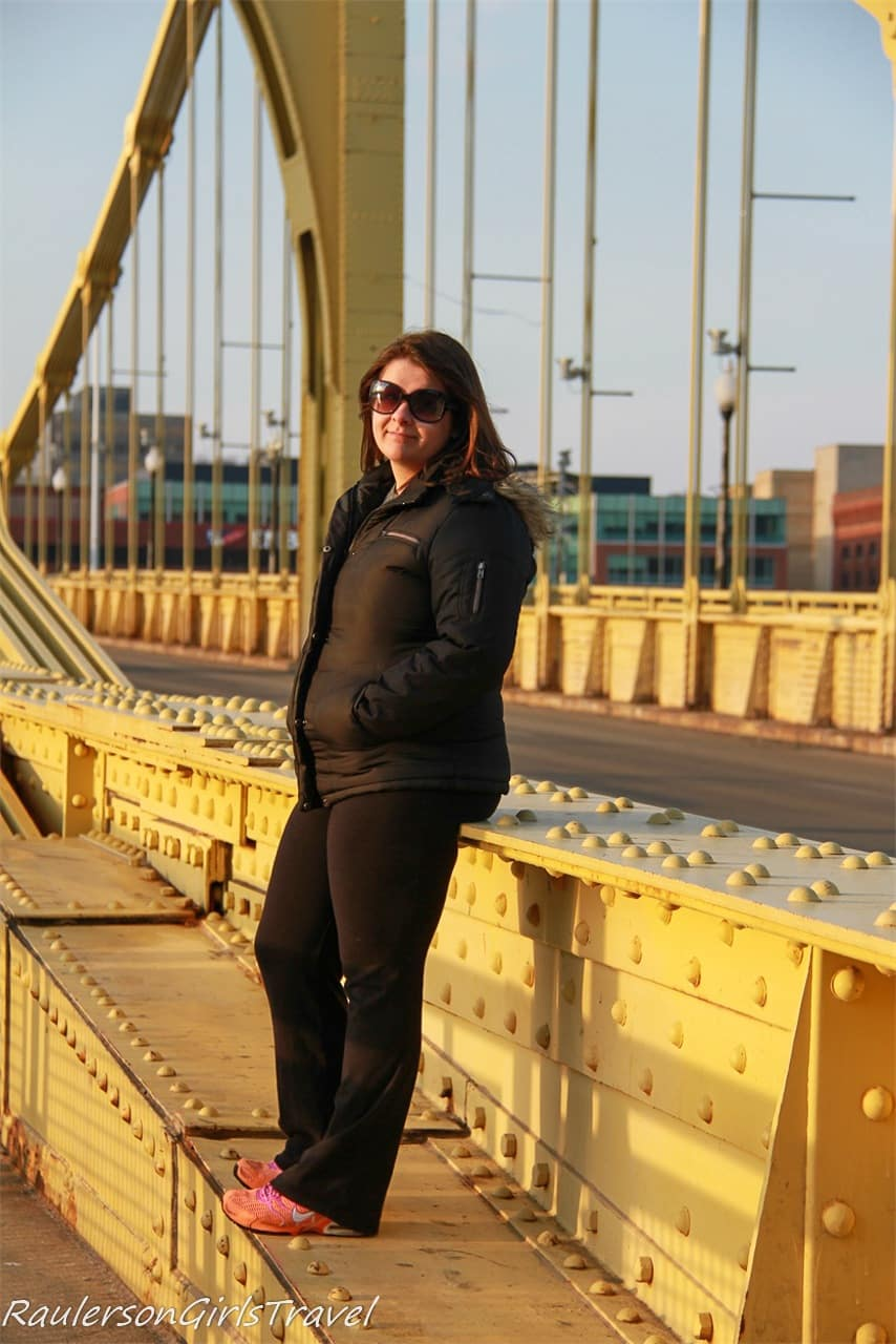 Kayla on the Roberto Clemente Bridge - Things to Do in Pittsburgh