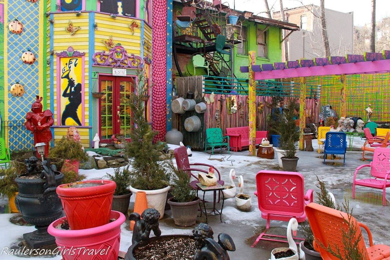 Courtyard at Randyland in winter