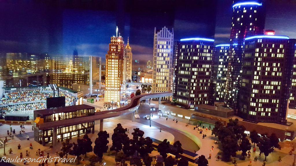 City of Detroit lit at night made of legos at Legoland