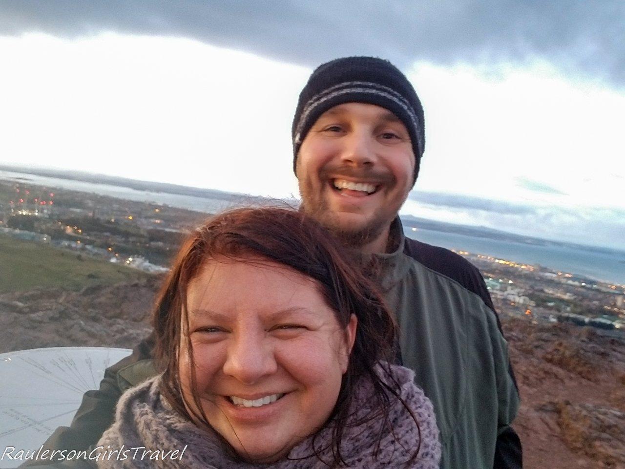 Heather and Skye on top of Arthur's Seat in Edinburgh
