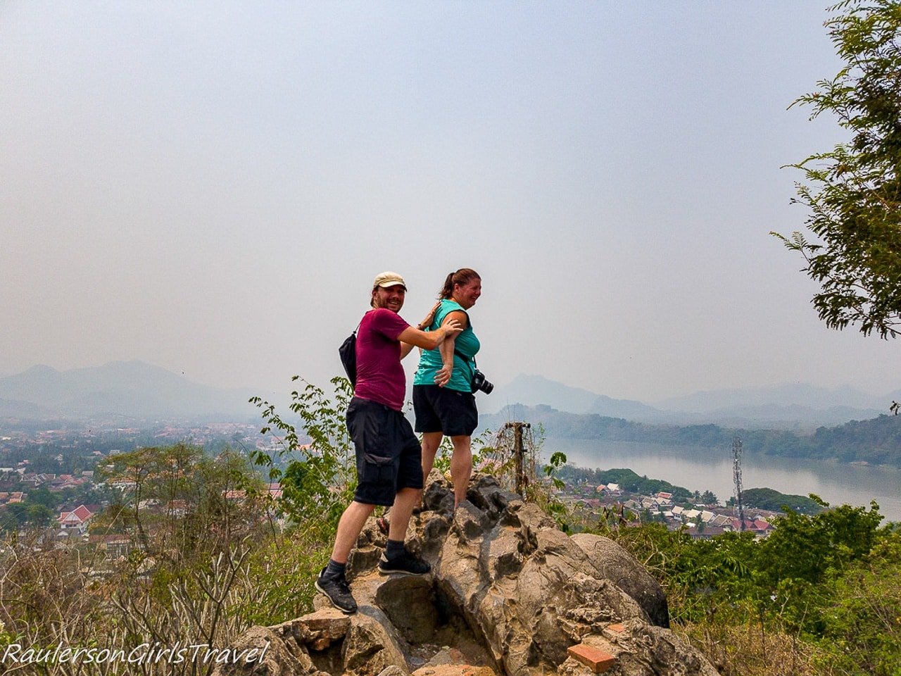 Heather and Skye on top of Mount Phousi in Laos