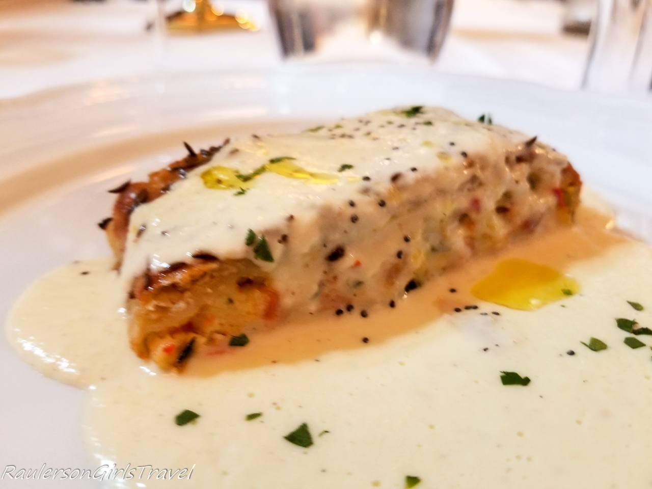Vegetable stuffed strudel served with Casolet cheese creme