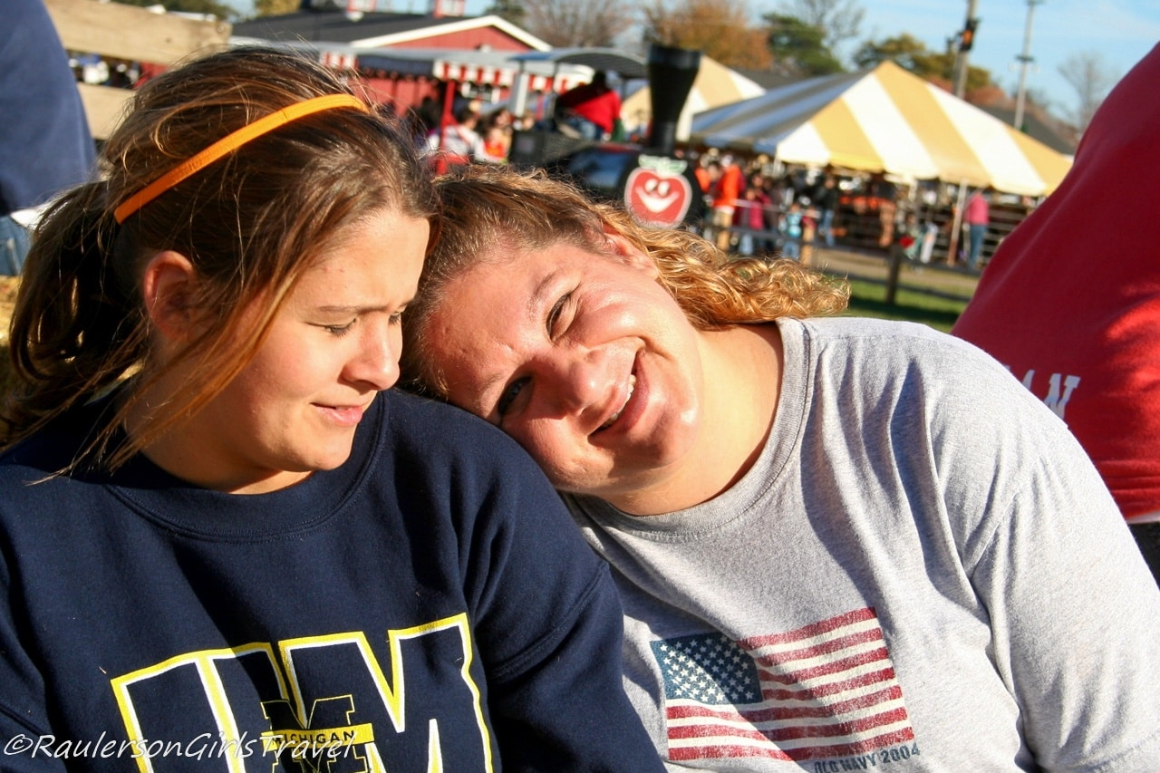 Kayla and Theresa on a hay ride at Blake's Cider Mill