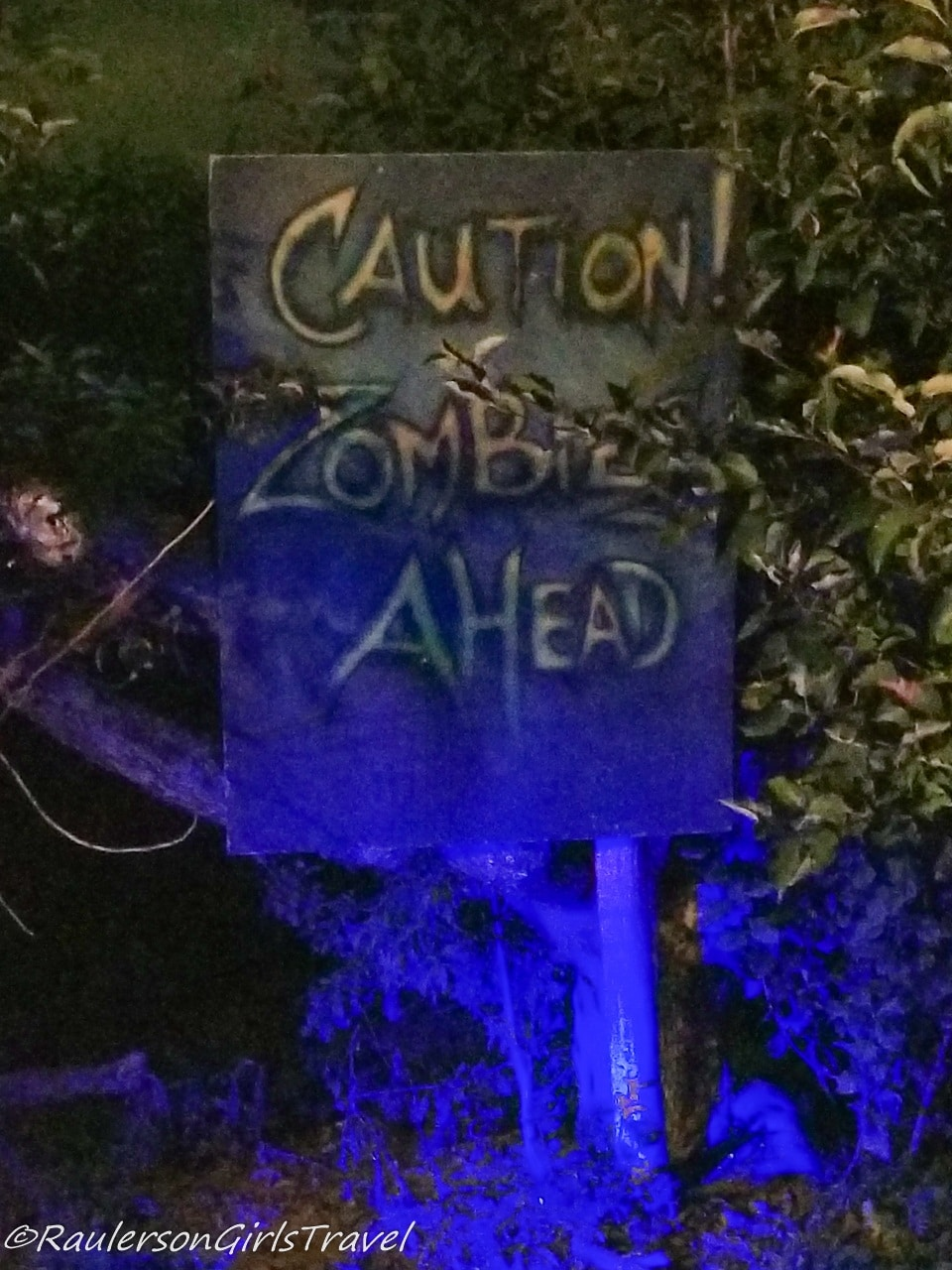 Caution Zombies Ahead Sign at Blake's Big Apple Cider Mill