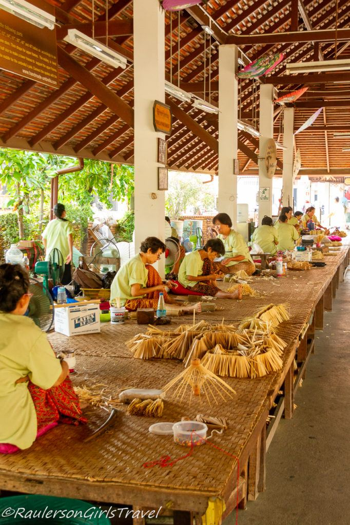 Workers at the Romborsang Umbrella Factory