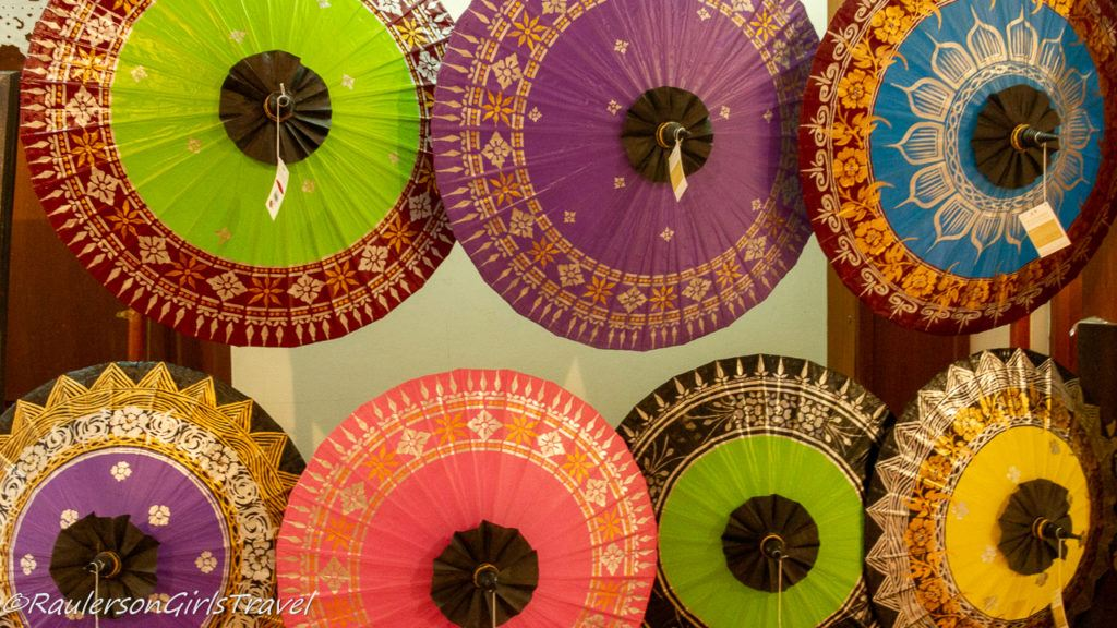 Display of Colorful Painted Umbrellas