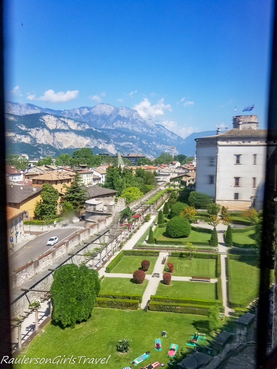 View of the Castle grounds from the hallway toward the Torre Aquila