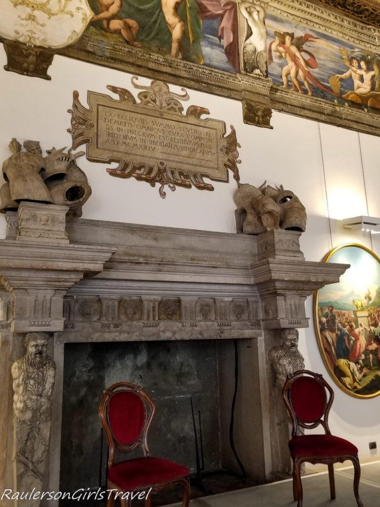Fireplace in the Sala Grande room in Buonconsiglio Castle