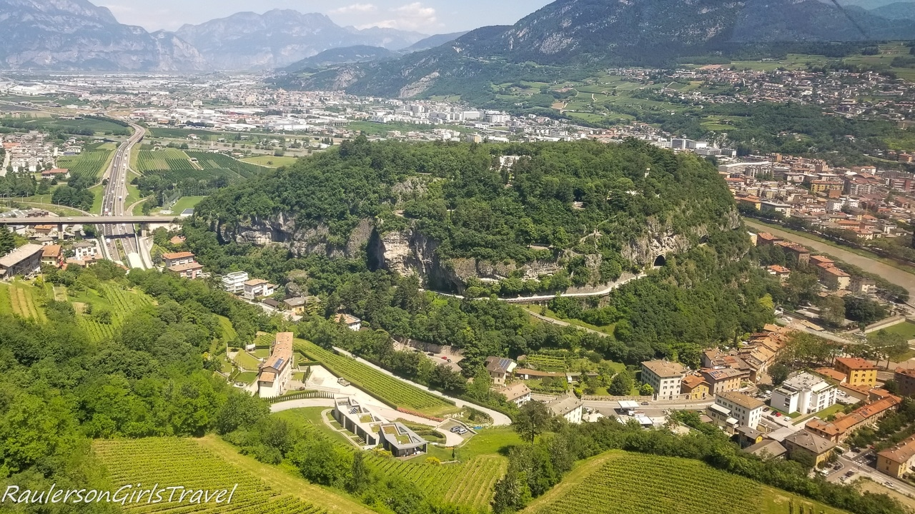 View up the side of Mount Bodone from the Trento Cable Car