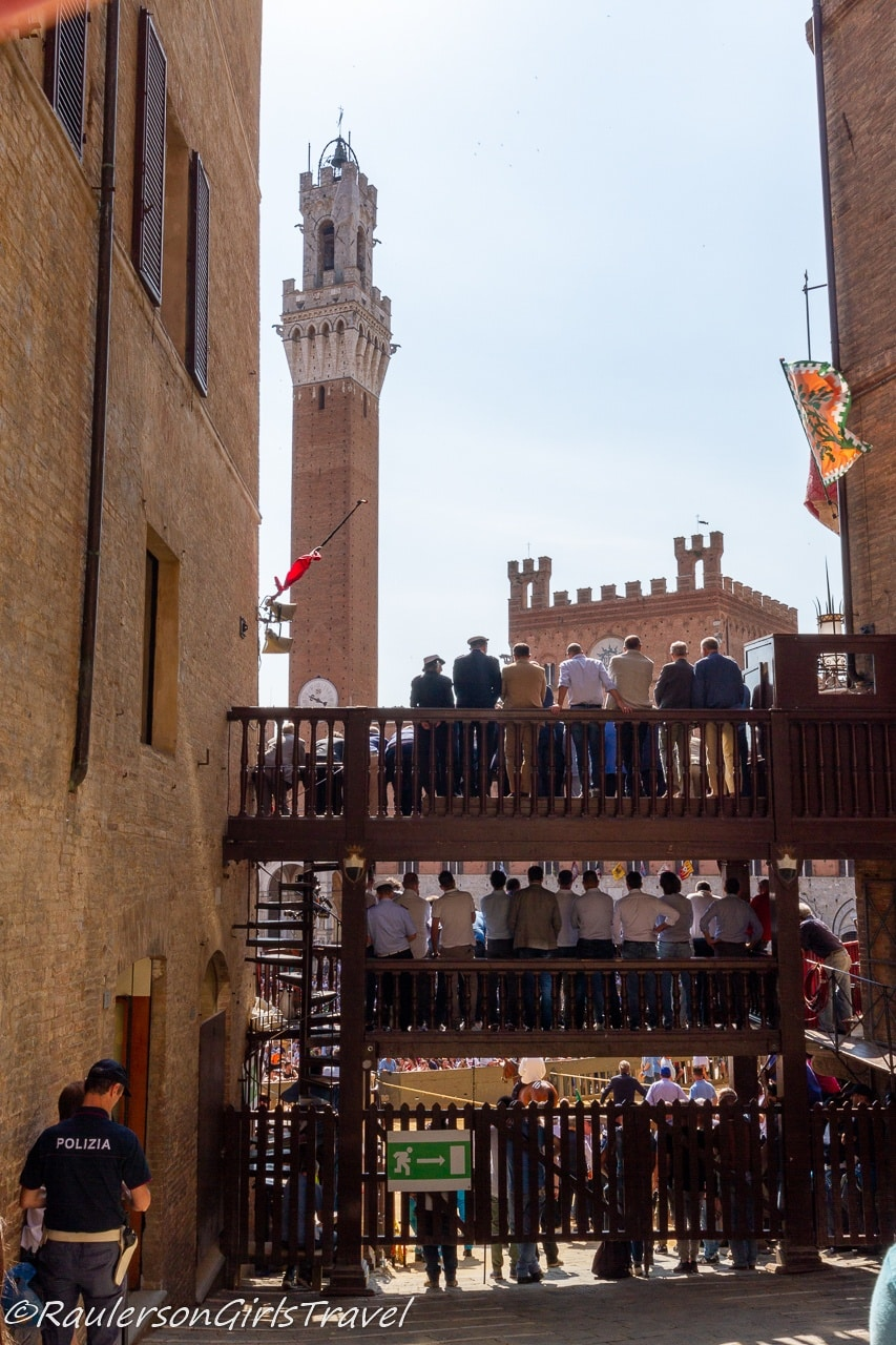 Crowds watching the Palio Horse Race in Siena
