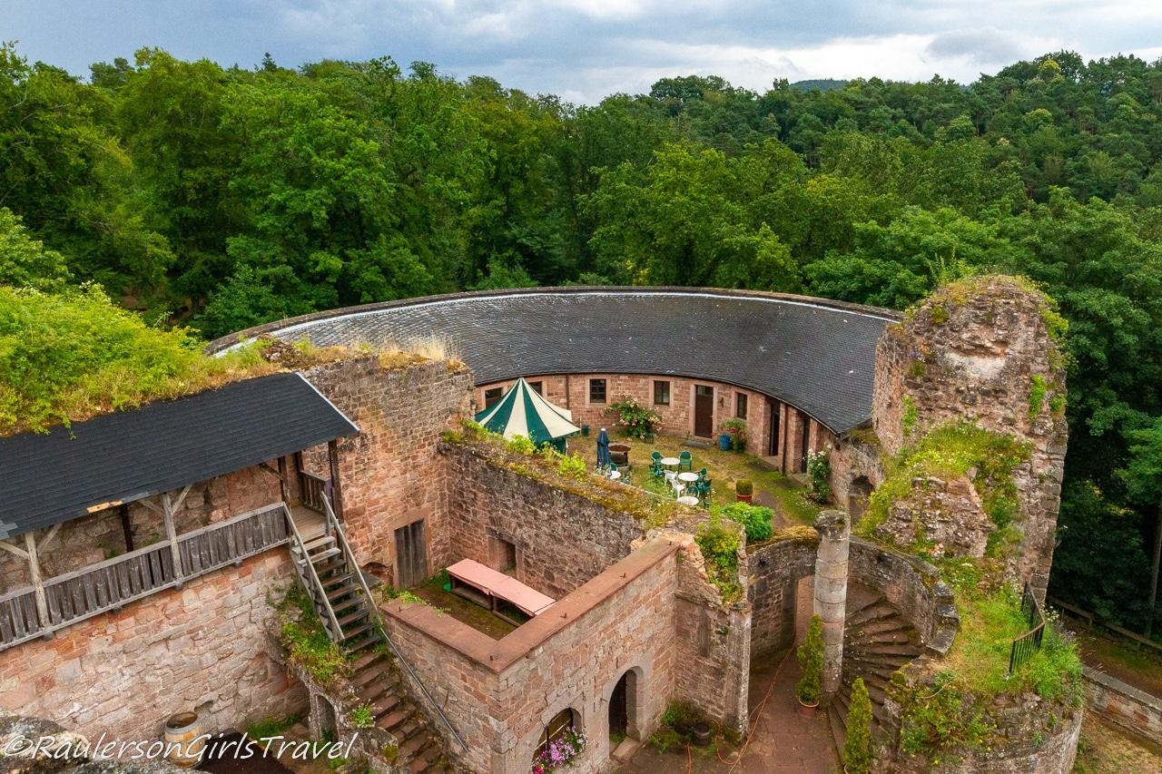Aerial view of castle yard in Castle Nanstein